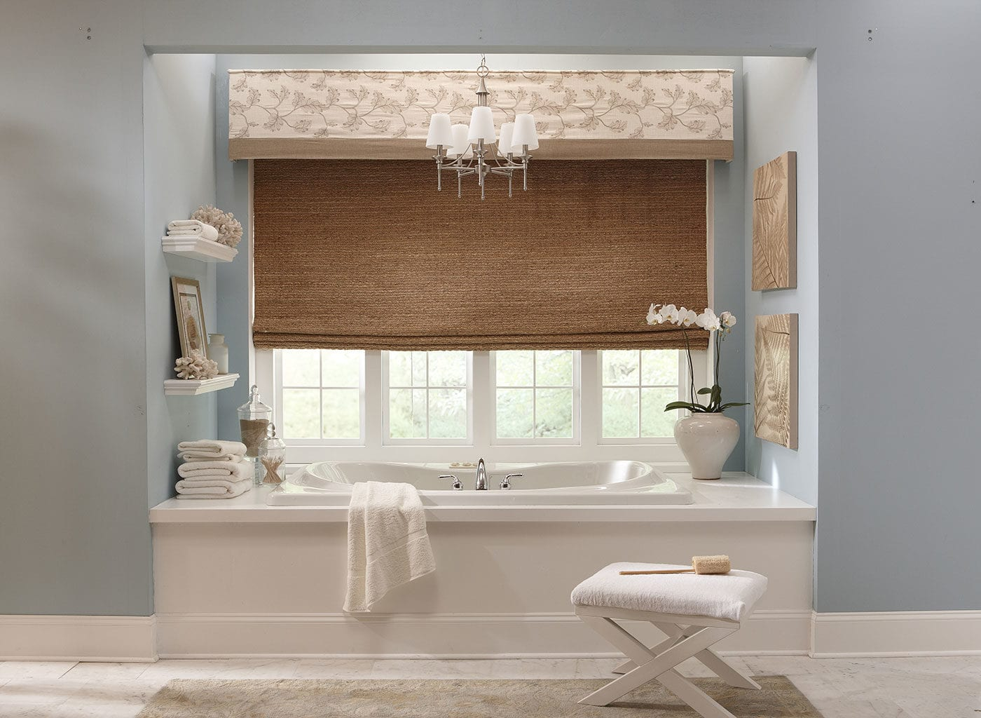 Cornice Fabric Pattern Woven Wood Window Treatments Curtains Drapes Draperies Blinds Horizon Bathroom Spa