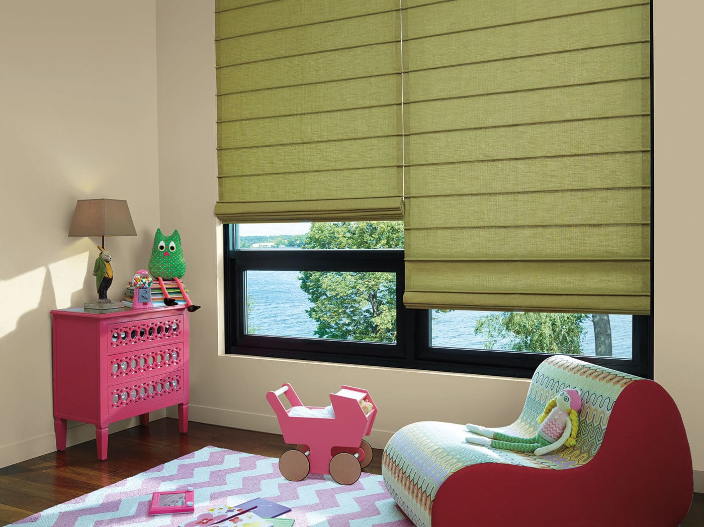 Hunter Douglas Design Studio™ Roman Shade Bohemian Pesto Kids Room Nursery Casual Modern Contemporary