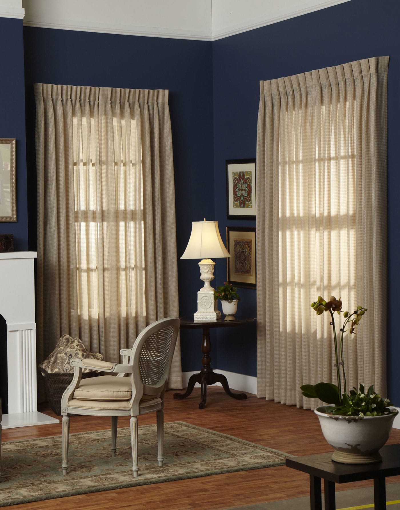 Panel Pinch Pleat Fabric Sheer Window Treatments Curtains Drapes Draperies Blinds Horizon Living Room