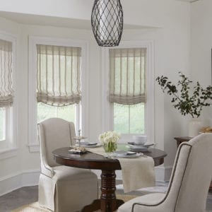 Custom Soft Shades for Fabric Window Treatments Near Chicago, Illinois (IL) Including Relaxed Sheer Roman Style
